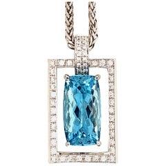 10.48 Carat Aquamarine and 0.5 Carat Diamond Gold Pendant
