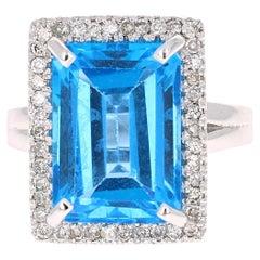 10.48 Carat Blue Topaz Diamond White Gold Cocktail Ring
