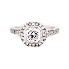1.048 Carat Square Radiant Diamond Engagement Platinum Ring Art Deco Style