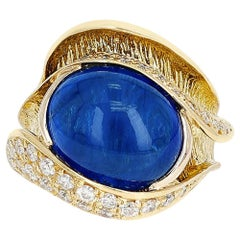10.48 Ct. Sapphire Cabochon and 0.54 Ct. Diamond Cocktail Ring, 18k Yellow Gold
