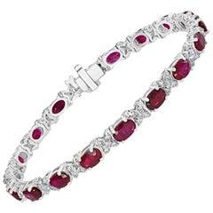 10.48 Carat Ruby Bracelet with 1.05 Carat of Diamonds Set in 18 Karat White Gold