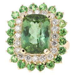 10.49 Carat Green Tourmaline Diamond 14 Karat Yellow Gold Cocktail Ring