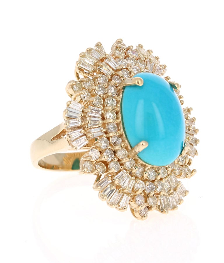 This is an exceptional and unique beauty!   The Oval Cut Turquoise is 7.67 Carats and is surrounded by a cluster of beautifully set diamonds. There are 58 Round Cut Diamonds that weigh 1.52 Carats and 36 Baguette Cut Diamonds that weigh 1.30 Carats.