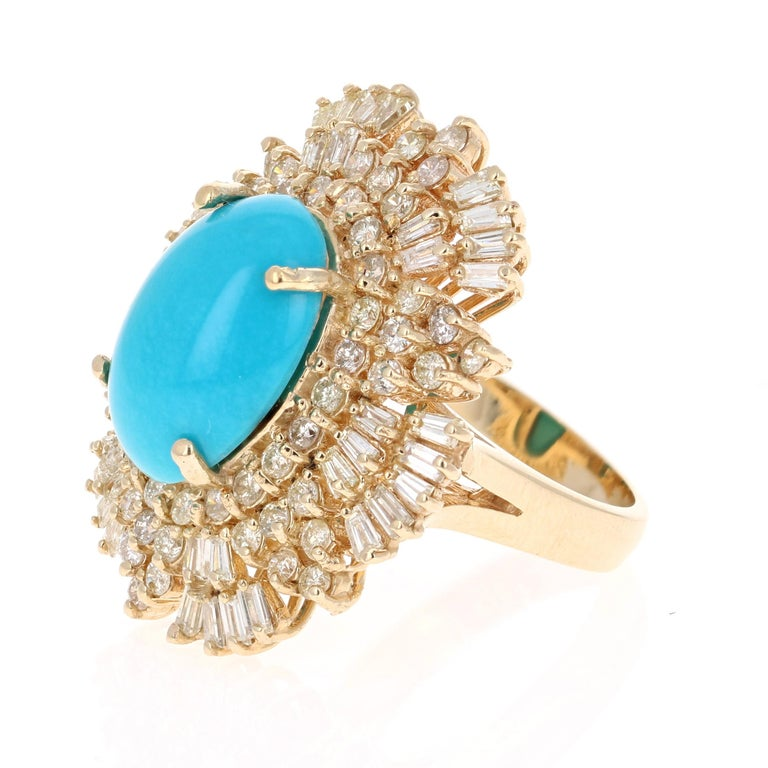 Late Victorian 10.49 Carat Turquoise Diamond 14 Karat Yellow Gold Cocktail Ring For Sale