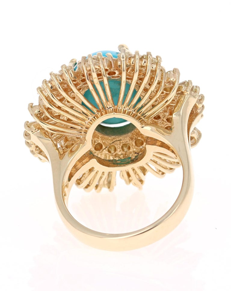 Oval Cut 10.49 Carat Turquoise Diamond 14 Karat Yellow Gold Cocktail Ring For Sale