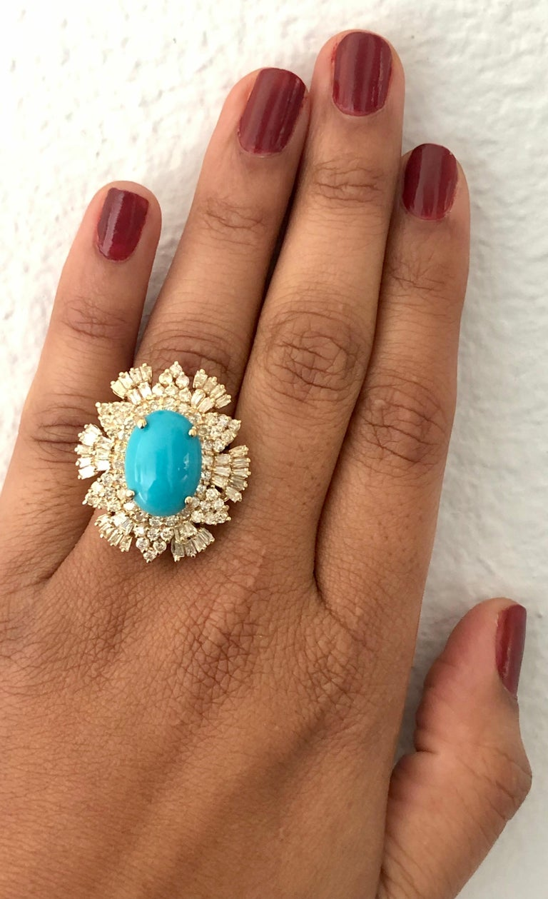 10.49 Carat Turquoise Diamond 14 Karat Yellow Gold Cocktail Ring In New Condition For Sale In Los Angeles, CA