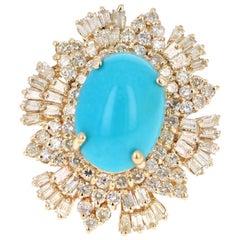 10.49 Carat Turquoise Diamond 14 Karat Yellow Gold Cocktail Ring
