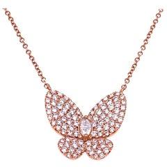 0.90 Carat 14 Karat Gold Pave Set Butterfly Necklace