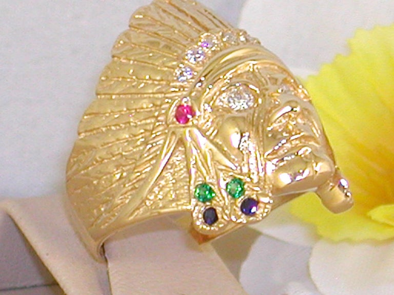 Contemporary 1.05 Carat 18 Karat Yellow Gold Diamond Ruby Emerald Indian Head Men's Ring