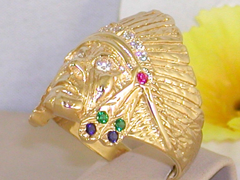 Round Cut 1.05 Carat 18 Karat Yellow Gold Diamond Ruby Emerald Indian Head Men's Ring