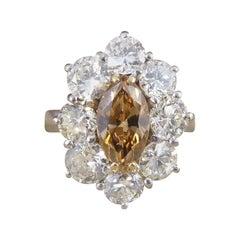 1.05 Carat Cognac Diamond Cluster Ring 2.97 Carat Total in 18 Carat White Gold