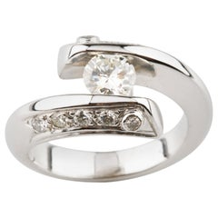 1.05 Carat Diamond Bypass Engagement Ring in White Gold