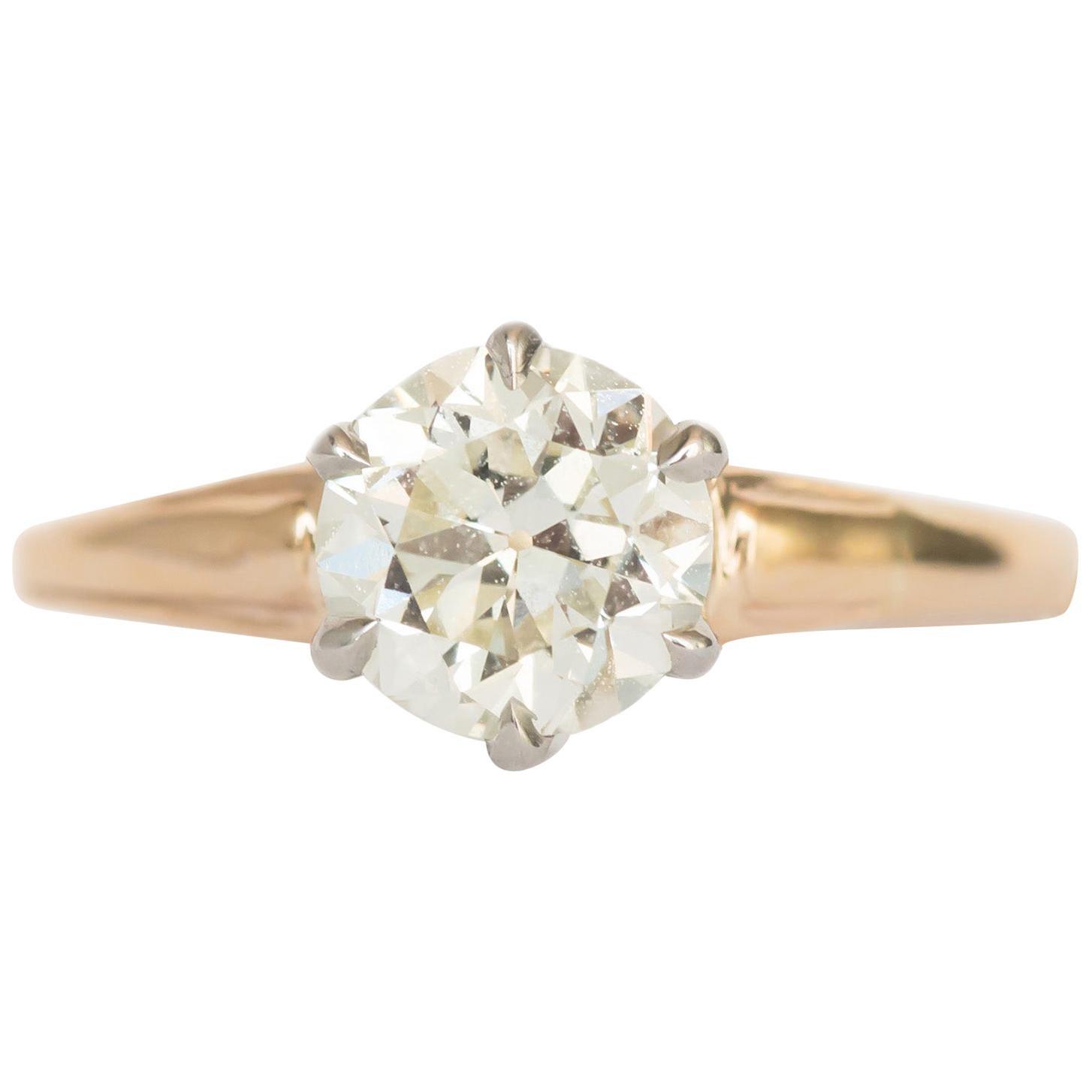 1.05 Carat Diamond Yellow Gold and Platinum Engagement Ring