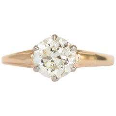 1.05 Carat Diamond Yellow Gold and Platinum Engagement Ring