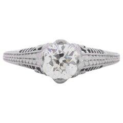 1.05 Carat Edwardian Diamond Platinum Engagement Ring