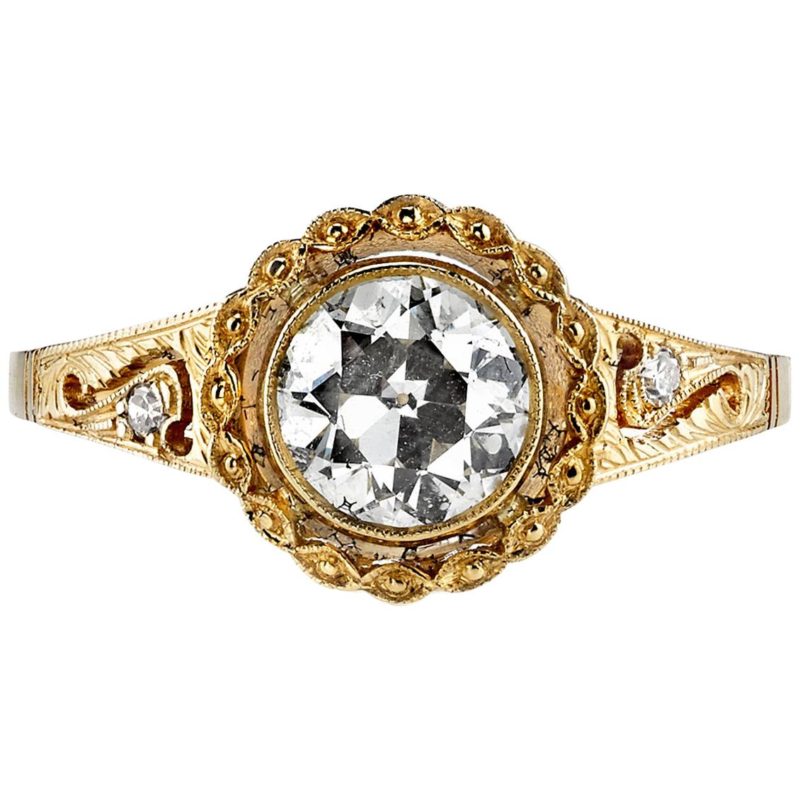 1.05 Carat Old European Cut Diamond Set in a Handcrafted 18K Yellow Gold Ring