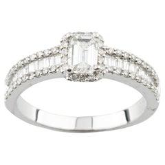 1.05 Carat Emerald Cut Diamond Engagement Ring Set in 14 Karat White Gold