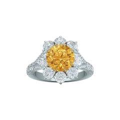 1.05 Carat GIA Fancy Orange Yellow Diamond Ring