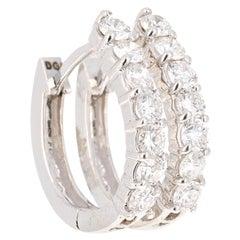 1.05 Carat Hoop Huggie Earring 18 Karat White Gold