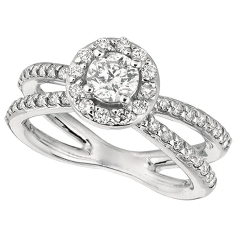 1.05 Carat Natural Diamond Engagement Ring G SI 14 Karat White Gold