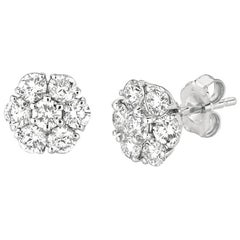 1.05 Carat Natural Diamond Flower Cluster Earrings G SI 14 Karat White Gold