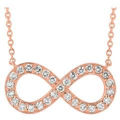 1.05 Carat Natural Diamond Infinity Necklace Pendant 14 Karat Rose Gold G SI