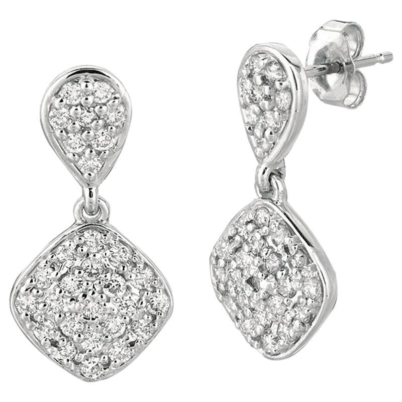 1.05 Carat Natural Diamond Pear & Square Shape Drop Earrings G SI 14 Karat Gold