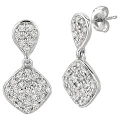1.05 Carat Natural Diamond Pear & Square Shape Drop Earrings G SI 14 Karat Gold