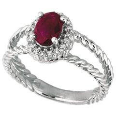 1.05 Carat Natural Oval Ruby & Diamond Ring 14K White Gold