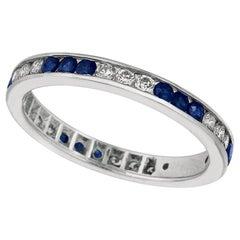 1.05 Carat Natural Sapphire and Diamond Eternity Ring Band 14 Karat White Gold