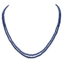105 Carat Natural Sapphire Bead Three-Strand Necklace Sterling Silver Clasp