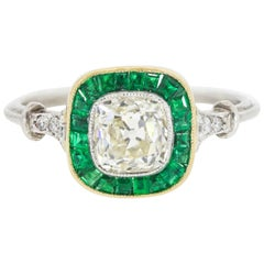 1.05 Carat Old Cushion Cut Diamond and Colombian Emeralds Platinum Ring