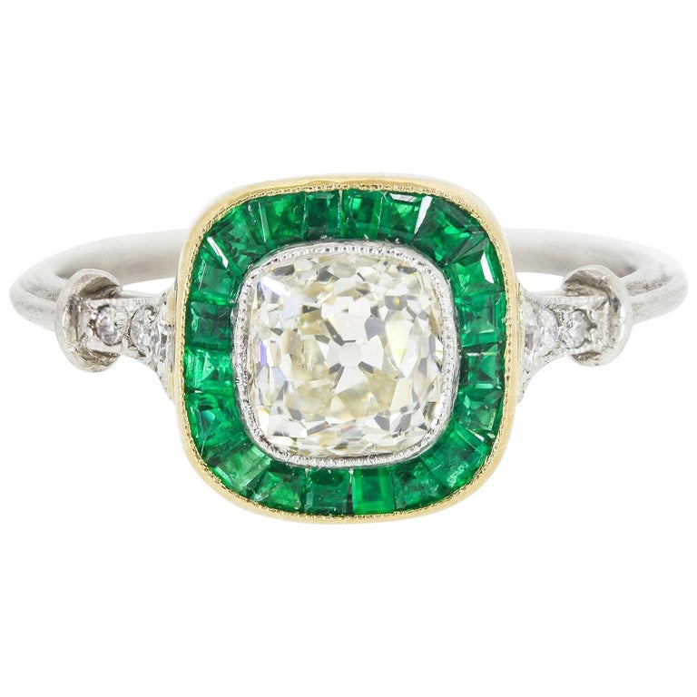 1 05 Carat Old Cushion Cut Diamond And Colombian Emeralds Platinum Ring