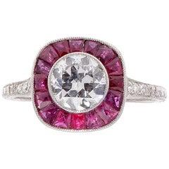 1.05 Carat Old European Cut Diamond Ruby Platinum Engagement Ring