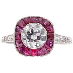 1.05 Carat Old European Cut Diamond Ruby Platinum Engagement Ring
