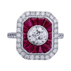 1.05 Carat Old European Cut Diamond with Ruby Statement Ring in 18 Karat Gold