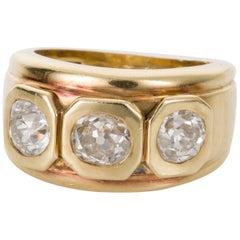 1.05 Carat Old European Cut Diamond Yellow Gold Dress Ring