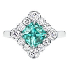 1.05 Carat Paraiba Tourmaline Diamond Engagement Ring in Platinum