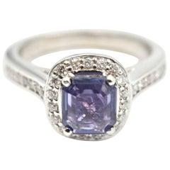 1.05 Carat Purple Sapphire and Diamond 18 Karat White Gold Ring