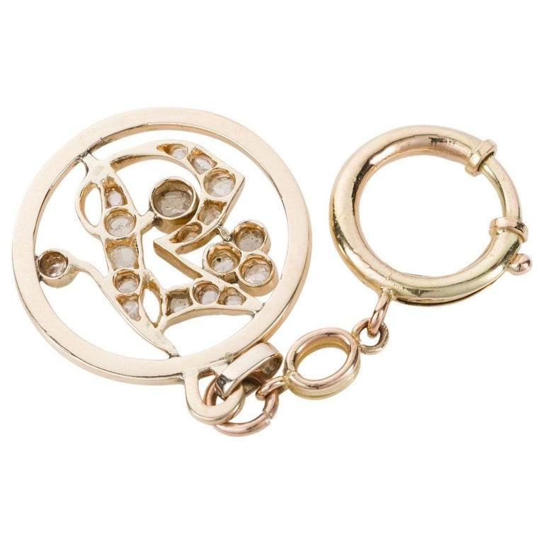 Women's or Men's 1.05 Carat Rose Cut Diamond Gold Key Chain and Pendant