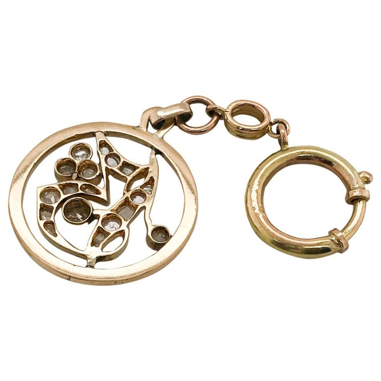 1.05 Carat Rose Cut Diamond Gold Key Chain and Pendant 1