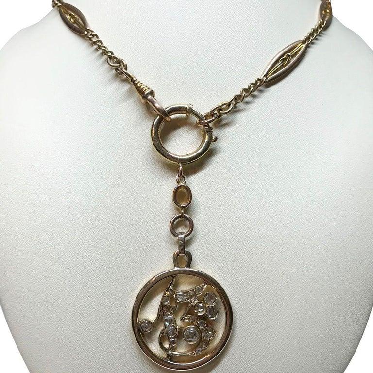 1.05 Carat Rose Cut Diamond Gold Key Chain and Pendant 3