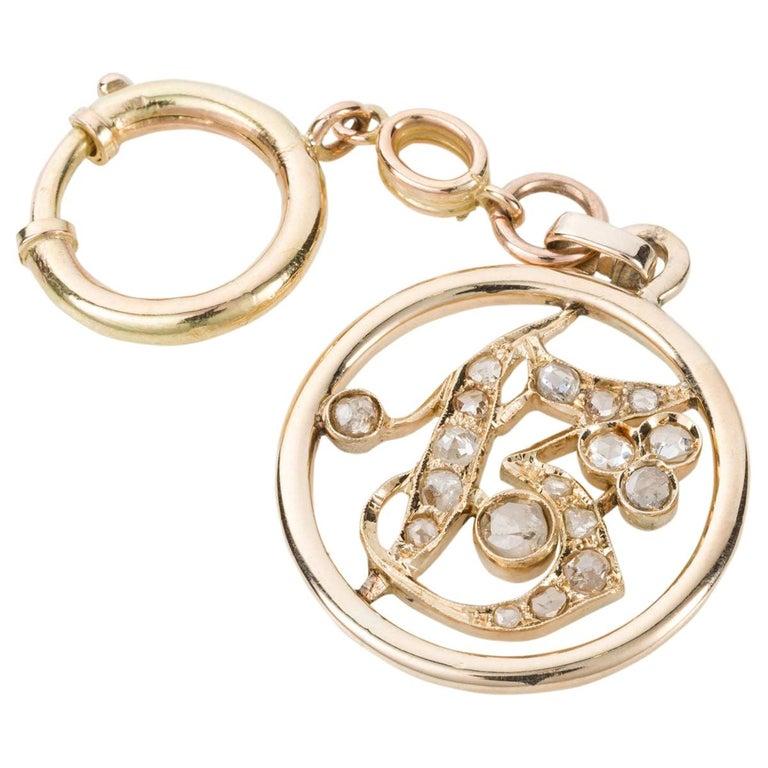 1.05 Carat Rose Cut Diamond Gold Key Chain and Pendant