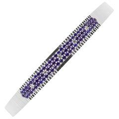 1.05 Carat Round Blue Sapphire and Diamond Bangle Bracelet 14 Karat White Gold