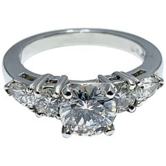 1.05 Carat Round Brilliant Cut Diamond and Platinum Engagement Ring