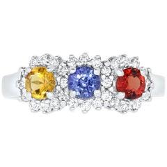 1.05 Carat Round Multi-Color Sapphire and 0.36 Carat White Diamond Ring