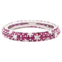 1.05 Carat Ruby and Diamond Band Ring Set in 18 Karat White Gold