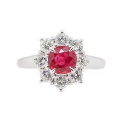 1.05 Carat Ruby and Diamond Cluster Ring Set in Platinum
