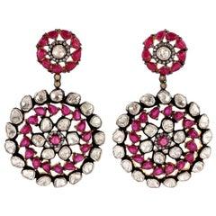 10.5 Carat Ruby Diamond Earrings