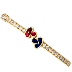 1.05 Carat Ruby Sapphire 2.16 Carat Diamond Gold Bangle